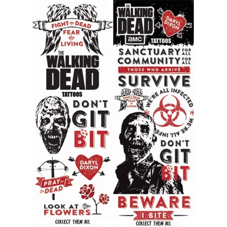 the walking dead temporary tattoos makeup. Black Bedroom Furniture Sets. Home Design Ideas