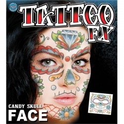 Candy Skull Face Temporary Tattoo