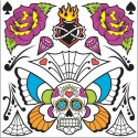 Day of the Dead Neck & Chest Temporary Tattoos