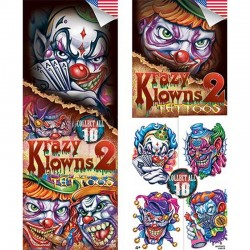 Krazy Klowns Series 2 Temporary Tattoos